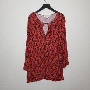 Michael Kors Orange & Navy Snake Print Tunic